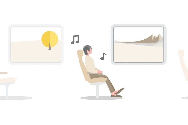 Illustration of person listening to music while travelling