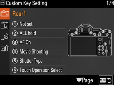 """Custom Key Setting"" menu"