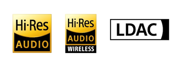 Hi-Res Audio、Hi-Res Audio Wireless 與 LDAC 標誌