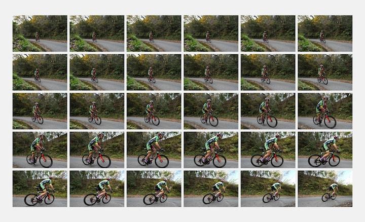 30 張單車選手的連拍影像。
