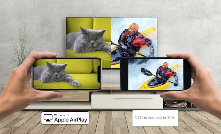 Two smartphones casting  a picture of a cat and a kayaker to a Sony TV using Apple AirPlay and Chromecast