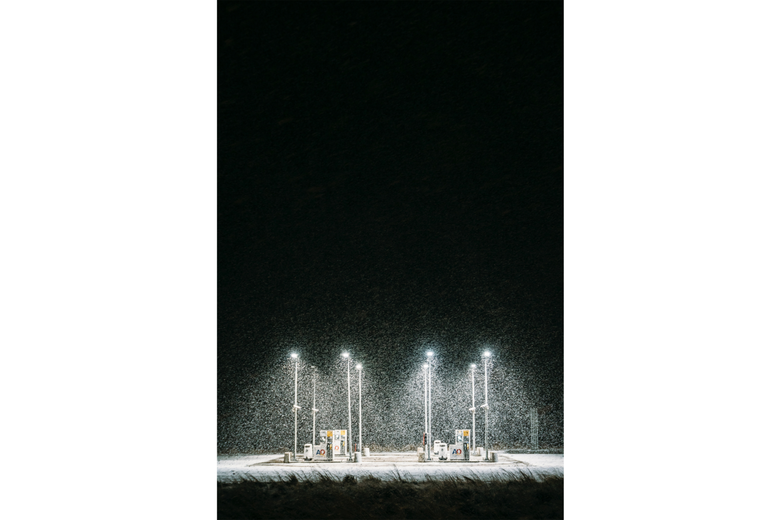 snow falling on petrol station alpha 7RII