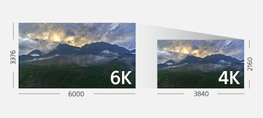 Two comparative landscape images illustrating the difference between 6K and 4K movie recording