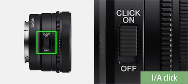 Product image showing position of Click ON/OFF switch on lens