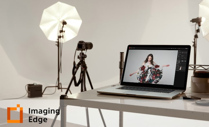 Shooting studio with Imaging Edge logo