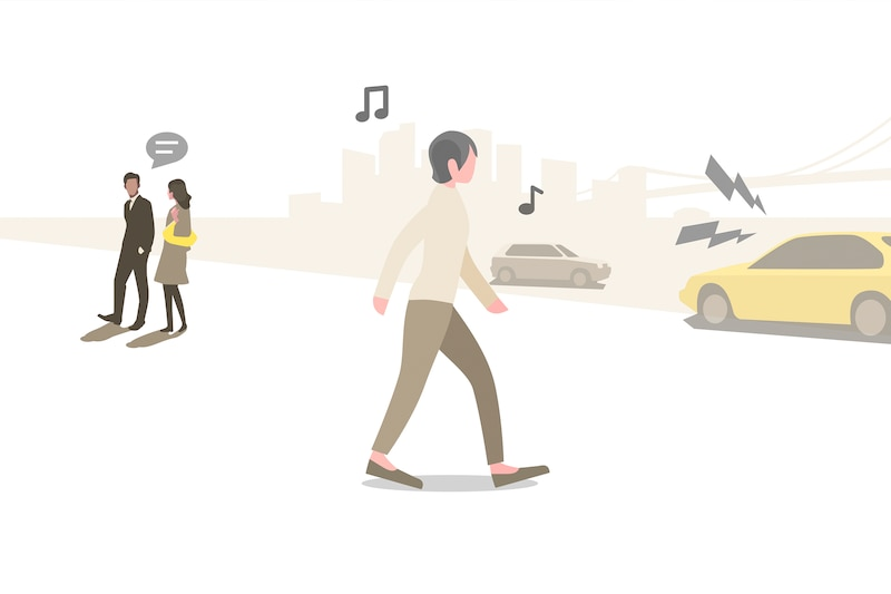Illustration of person listening to music while walking