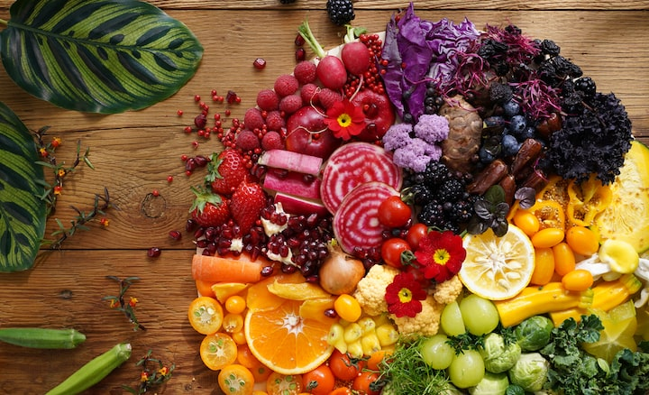Image of colorful vegetables and fruits taken with this lens at high resolution in every corner