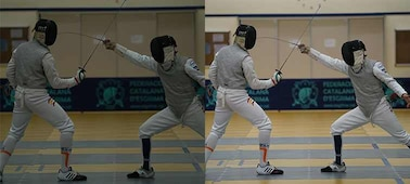 Two images of fencers fencing in an indoor setting