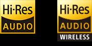 Hi-Res Audio and Hi-Res Audio wireless logos